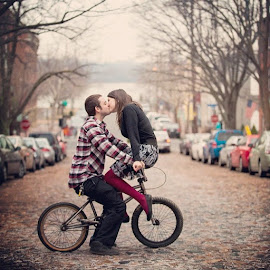 engagement photo from last winter by Mike Lesnick - City,  Street & Park  Street Scenes ( oldtown, bike, oldtownalexandria, poseidea, couple, mikelesnick, va, jj, alexandria, portrait, engagement )