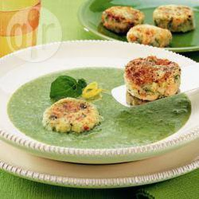 Broccoli Soup With Salmon Cakes
