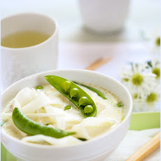 Rice Noodle Soup, with Pork, Snap Sugar Peas and Tofu