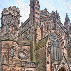 Hereford Cathedral by Roy Branford - Digital Art Places ( impression, artistic, cathedral, topaz labs, photoshop )