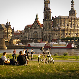 by Dacey Uthoff - City,  Street & Park  City Parks ( europe, park, river elbe, germany, travel, dresden, picnic )