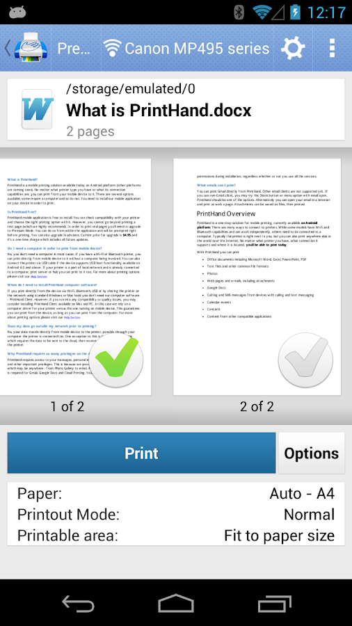 PrintHand Mobile Print Premium Screenshot 3