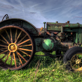 Old tractor by Calvin Morgan - Transportation Other ( farm equiptment, hdr, john deere, rust, nikon d7000, tractor )