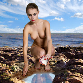 Chloe By The Sea by Mike Lloyd - Nudes & Boudoir Artistic Nude ( nude, girl, sea, rocks )