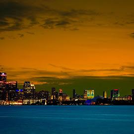 Detroit skyline by Tony Clark - City,  Street & Park  Skylines ( michigan, skyline, sunset, detroit )