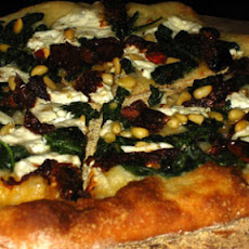 Pizza with Spinach, Tomatoes, and Pine Nuts