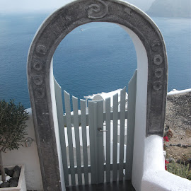 Santorini Gate by Cheryl George - Buildings & Architecture Other Exteriors ( arch, door, archway, santorini, gate )