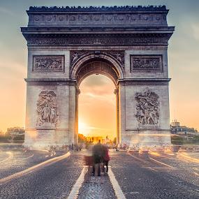 Lheure de pointe a Paris by Serge Thonon - City,  Street & Park  Street Scenes