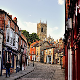 Lincoln England cobble stone by Jonathan Abrams - City,  Street & Park  Historic Districts ( hill, church, shops, street, cobble stone )