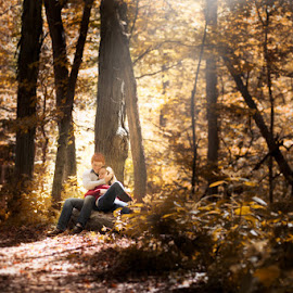 Serenity by Mike Herod - People Couples ( fall, couple, sunlight, woods )