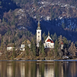 The church on the lake Bled by Almas Bavcic - City,  Street & Park  Historic Districts
