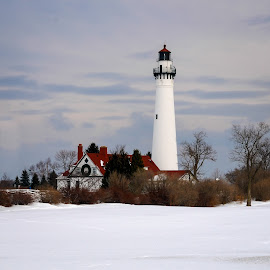 Wind Point Christmas #3 by Jebark Fineartphotography - Buildings & Architecture Public & Historical ( wisconsin, wind point, snow, lighthouse, christmas, historical )