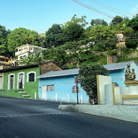 Colorful Mexican Houses by Shane Adams - City,  Street & Park  Street Scenes ( papantla, home, mexico, street, travel, house, veracruz )