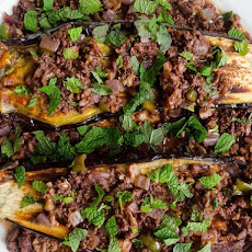 Baked Eggplant with Lamb and Walnut Sauce
