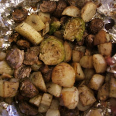 Roasted Brussels Sprouts With Potatoes and Bacon