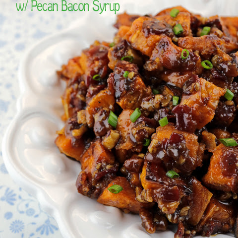 Candied Sweet Potatoes with Pecan Bacon Syrup