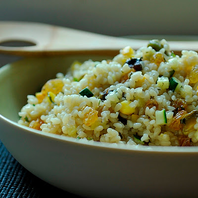 Summer Squash Couscous with Sultanas, Pistachios and Mint