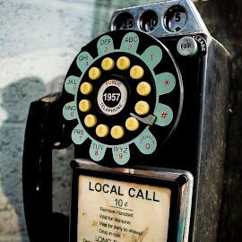 1957 Cell Phone by Pamela Vest - City,  Street & Park  Neighborhoods ( phone, vintage, pay phone, outside, street photography )