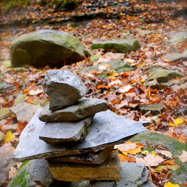 Inukshuk in Fall by Alyson Yioldassis - Nature Up Close Rock & Stone ( nature, color, fall, leaves, rocks,  )