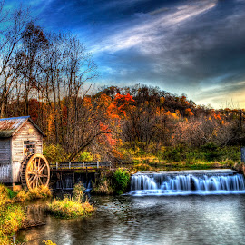 Hyde's Mill by John Larson - Landscapes Waterscapes ( clouds, water, mill, sky, grass, sunset, waterfall, trees )
