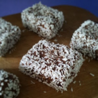 Coconut-Coated No-Cook Protein Brownies