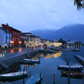 Ascona by Sabina Lombardo-Salmina - City,  Street & Park  Night (  )