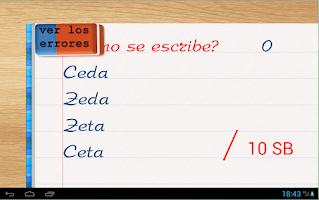 Screenshot of Escribién - Spanish words quiz
