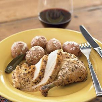 Roasted Chicken with Salt-Baked Potatoes