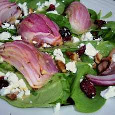Spinach Salad With Roasted Red Onions, Pecans, Dried Cranberries