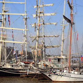 Tall Ships at Woolwich Pier by Bill Green - Transportation Boats ( woolwich, tall ships, greenwich )