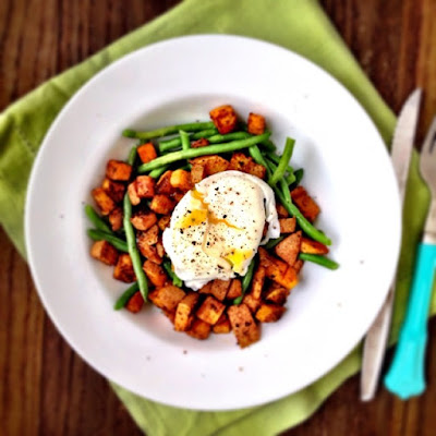 Spicy Sweet Potatoes with Green Beans and Poached Eggs