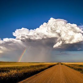 Road to the Pot of Gold by Bon Zeye - Landscapes Prairies, Meadows & Fields ( weather, landscape, storm, rainbow, rain cloud,  )