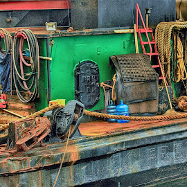 Working Tug by Jim Downey - Transportation Boats ( equiptment, ropes, rust, tug boat, salvage )