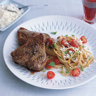 Lamb Chops and Spaghetti Salad with Raw Cherry Tomato Sauce