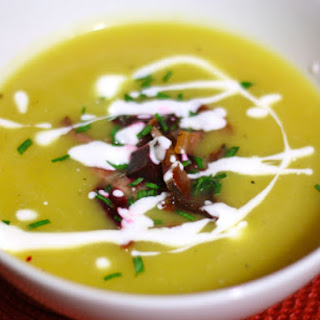Squash and Apple Soup with Beet and Bacon