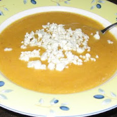 Roasted Pear-Butternut Soup With Crumbled Blue Cheese