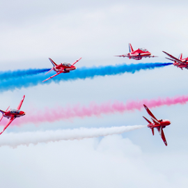 Reds split by Ian Clamp - Transportation Airplanes ( flying, red arrows, air force, flying display, display, aerobatics, raf, smoke, hawk )