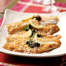 Flounder with Cilantro-Curry Topping and Toasted Coconut