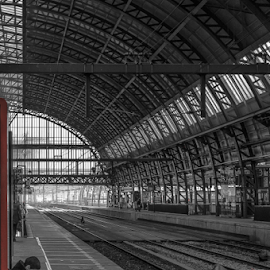 Waiting! by Jesus Giraldo - Buildings & Architecture Other Interior ( concept, structure, reading, waiting, art, solitude, trainstation, woamn )