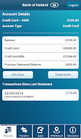 Screenshot of Bank of Ireland Mobile Banking