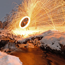 Riverspinn by Marius Birkeland - Abstract Light Painting ( spinning, steel wool, snow, steelwool, river )