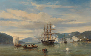 RIJKS: jonkheer Jacob Eduard van Heemskerck van Beest: HNLMS Steam Warship Medusa Forcing Passage through the Shimonoseki Strait 1864