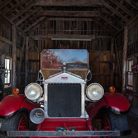 Old Car in Barn by Greg Head - Novices Only Objects & Still Life ( car, reflection, southern, barn, fall,  )