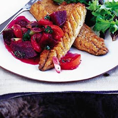 Pan-fried Mackerel With Warm Beetroot, Tomato And Lime Salsa