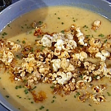 Cheese and Beer Soup with Spicy Popcorn Garnish