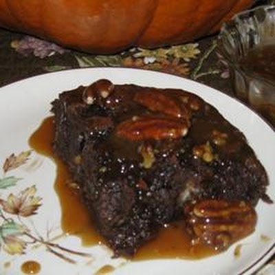 Chocolate Bread Pudding with Bourbon Pecan Sauce