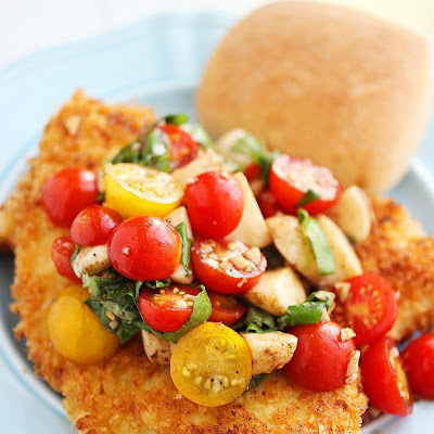 Crispy Parmesan Chicken Cutlets with Tomato-Mozzarella Salad