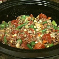 Slow Cooker Veggie-Beef Soup with Okra