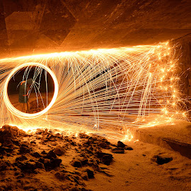 Spinning under the bridge by Marius Birkeland - Abstract Light Painting ( light painting, spinning, steel wool, steelwool, steel,  )