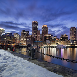 Fan Pier by Ron Phillips - City,  Street & Park  Skylines ( boston, blue hour, long exposure, cityscape, waterfront, nightscape )